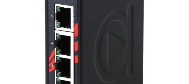 Antaira Technologies LNX-C500-CC off-the-shelf Ethernet switch with conformal coating.